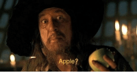 Apple, Lucifer, and Eve: Apple? Lucifer tempting Eve in the garden of Eden. (6000 B.C. colorized)
