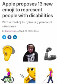 "Apple, Emoji, and Meme: Apple proposes 13 new  emoji to represent  people with disabilities  With a total of 45 options if you count  skin tones  By Shannon Liao on March 23, 2018 6:00 pmm  in  TEA  AI <p>Apple proposes new disabled emoji for the public, to increase buyer quality and profit. Should I be investing in this meme? via /r/MemeEconomy <a href=""https://ift.tt/2pHZLgF"">https://ift.tt/2pHZLgF</a></p>"