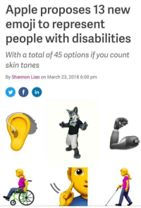 "Apple, Emoji, and Invest: Apple proposes 13 new  emoji to represent  people with disabilities  With a total of 45 options if you count  skin tones  By Shannon Liao on March 23, 2018 6:00 pmm  in <p>I think this has potential. Invest? via /r/MemeEconomy <a href=""https://ift.tt/2pEeuJw"">https://ift.tt/2pEeuJw</a></p>"