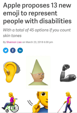 Apple, Emoji, and Total: Apple proposes 13 new  emoji to represent  people with disabilities  With a total of 45 options if you count  skin tones  By Shannon Liao on March 23, 2018 6:00 pm  in Innovation (i.redd.it)