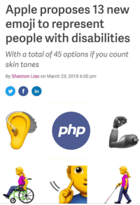 Apple, Emoji, and Php: Apple proposes 13 new  emoji to represent  people with disabilities  With a total of 45 options if you count  skin tones  By Shannon Liao on March 23, 2018 6:00 pm  in  php  1 h