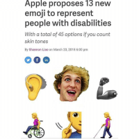 Apple, Emoji, and Memes: Apple proposes l3 neW  emoji to represent  people with disabilities  With a total of 45 options if you count  skin tones  By Shannon Liao on March 23, 2018 6:00 pm  in Follow @sigh for the best memes