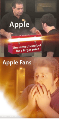 Apple, Memes, and Phone: Apple  The same phone but  for a larger price  Apple Fans Is it too late to cash in on JonTron memes?