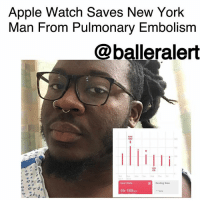 "Apple, Apple Watch, and Life: Apple Watch Saves New York  Man From Pulmonary Embolism  @balleralert  MAX  189  45  Heart Rate  Resting Rate  45-189sw Apple Watch Saves New York Man From Pulmonary Embolism – blogged by @MsJennyb ⠀⠀⠀⠀⠀⠀⠀ ⠀⠀⠀⠀⠀⠀⠀ Two years ago, a New York man purchased the original Apple Watch to track his bike rides, as he describes himself as a serial data tracker. But, he had no idea that the watch would one day save his life. ⠀⠀⠀⠀⠀⠀⠀ ⠀⠀⠀⠀⠀⠀⠀ According to Cult of Mac, James Green was suffering a pulmonary embolism but had no idea until his watch alerted him with a new notification. The watch, which has a heart-tracking app that details your BPM and provides health updates, informed him that his heart rate was higher than normal and something was seriously wrong. ⠀⠀⠀⠀⠀⠀⠀ ⠀⠀⠀⠀⠀⠀⠀ ""It was cool to open up the Health app and show it to my physicians and give them more data to work with,"" the 28-year-old said. ""I had no idea this watch would save my life."" ⠀⠀⠀⠀⠀⠀⠀ ⠀⠀⠀⠀⠀⠀⠀ According to reports, the watch has saved a slew of lives over the last two years. Although it's not an official medical accessory, researchers have reportedly rated the watch as the most accurate heart rate monitor among smartwatches."