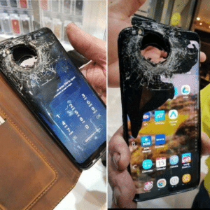 Apple, Beer, and Phone: Apple: We have waterproof phones. Samsung:Hold my beer. Even after such severe damage, the phone has retained its partial working condition.