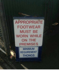 Memes, Aussie, and 🤖: APPROPRIATE  FOOTWEAR  MUST BE  WORN WHILE  ON THE  PREMISES  MINIMUM  REQUIREMENT  THONGS Just Aussie things