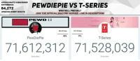 Memes, Link, and 🤖: APPROXIMATE SUBSCRIBER  DIFFERENCE:  PENDIEPIEVS T-SERIES  84,272  WHO WILL PREVAIL?  JOIN THE OFFICIAL DISCORD SERVER, LINK IN DESCRIPTION  UPDATES EVERY MINUTE  83%  17%  PewDiePie  T-Series  71,612,312 71,528,039  Subscnbers F