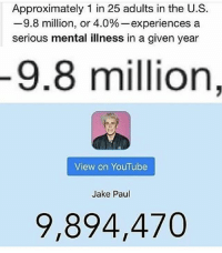 this is actually funny: Approximately 1 in 25 adults in the U.S.  9.8 million, or 4.0%-experiences a  serious mental illness in a given year  9.8 million,  View on YouTube  Jake Paul  9,894,470 this is actually funny