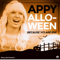<h2>Appy Alloween from Sara with no H!</h2>: APPY  ALLO  WEEN  BECAUSE H'S ARE EW!  #FALLONTONIGHT  NBC <h2>Appy Alloween from Sara with no H!</h2>