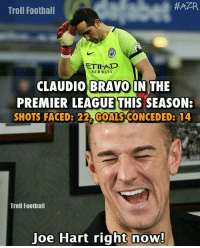 Joe Hart right now.. 😂 🔺LINK IN OUR BIO 😎🔥:  #APR  Troll Football  AIRWAYS  CLAUDIO BRAVO IN THE  PREMIER LEAGUE THIS SEASON:  SHOTS FACED: 22 GOALS CONCEDED3 14  Troll Football  Joe Hart right now! Joe Hart right now.. 😂 🔺LINK IN OUR BIO 😎🔥