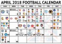 April is going to be a Super Duper month 😍😍 https://t.co/on60fDYmGd: APRIL 2018 FOOTBALL CALENDAR  SUN  MON  TUE  WED  THU  FRI  SAT  fTrollFootball  TheTrollFootbal Insta  2  8  p@ @ili  , 15  BVB  AYER  16  18  19  ー  OTrollFootball  TheTrollFootball Insta  CHAMPIONS  CHAMPIONS  EUROPA  Semi Finals Semi Finals Semi Finals  1st Leg  27  28  1st Leg  1st Leg  30 April is going to be a Super Duper month 😍😍 https://t.co/on60fDYmGd