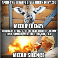 Facebook, Memes, and News: APRIL THE GIRAFFE GIVESBIRTHIN NYZ00  The Free  OU  MEDIA FRENZY  WIKILEAKS REVEALS THE AFGHAN TUNNELS TRUMP  JUST BOMBEDWEREBUILT BY THE CLAL  MEDIA SILENCE 💭 The Mainstream Media is a Weapon of Mass Distraction... ☕️🐸 Join Us: @TheFreeThoughtProject 💭 TheFreeThoughtProject Giraffe WikiLeaks CIA 💭 LIKE our Facebook page & Visit our website for more News and Information. Link in Bio... 💭 www.TheFreeThoughtProject.com