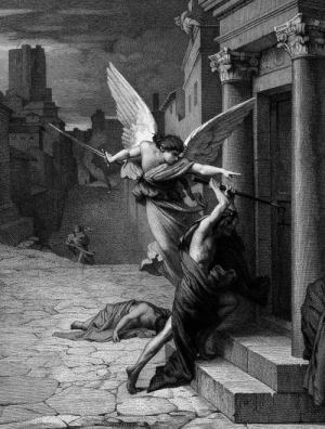 aqua-regia009:   The angel of death striking a door during the plague of Rome   (Detail), 1879.  Engraving by Levasseur after  Jules-Élie Delaunay       : aqua-regia009:   The angel of death striking a door during the plague of Rome   (Detail), 1879.  Engraving by Levasseur after  Jules-Élie Delaunay