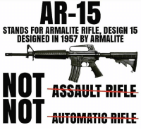 America, Guns, and Memes: AR-15  STANDS FOR ARMALITE RIFLE, DESIGN 15  DESIGNED IN 1957 BY ARMALITE  ASSAULT RIFLE  NOT AUTOMATIO RIFLE @ libs TheRaisedRight.com _________________________________________ Raised Right 5753 Hwy 85 North 2486 Crestview, Fl 32536 _________________________________________ Conservative America SupportOurTroops American Gun Constitution Politics TrumpTrain President Jobs Capitalism Military MikePence TeaParty Republican Mattis TrumpPence Guns AmericaFirst USA Political DonaldTrump Freedom Liberty Veteran Patriot Prolife Government PresidentTrump Partners @conservative_panda @reasonoveremotion @conservative.american @too_savage_for_democrats @raging_patriots @keepamerica.usa --------------------