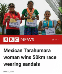 "Yasss! ❤️🏃🏾‍♀️💯🙌🏽✊🏾 ""A 22-year-old woman from Mexico's Tarahumara indigenous community has won a 50km (31 miles) ultramarathon wearing sandals. María Lorena Ramírez defeated 500 other runners from 12 countries in the female category of the Ultra Trail Cerro Rojo in Puebla, in central Mexico. She ran without any professional gear, and her pair of sandals was reportedly made from recycled tyre rubber. The Tarahumara are famous for being excellent runners. The race was held on 29 April, but only now has word about her victory spread."" mexico mexican tarahumara running runner ultramarathon: AR  $6,000.00  000.00  $3,000.00  BBC NEWS  LIKE  Mexican Tarahumara  woman wins 50km race  wearing sandals  MAY 22, 2017 Yasss! ❤️🏃🏾‍♀️💯🙌🏽✊🏾 ""A 22-year-old woman from Mexico's Tarahumara indigenous community has won a 50km (31 miles) ultramarathon wearing sandals. María Lorena Ramírez defeated 500 other runners from 12 countries in the female category of the Ultra Trail Cerro Rojo in Puebla, in central Mexico. She ran without any professional gear, and her pair of sandals was reportedly made from recycled tyre rubber. The Tarahumara are famous for being excellent runners. The race was held on 29 April, but only now has word about her victory spread."" mexico mexican tarahumara running runner ultramarathon"