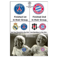 Bad, Memes, and Real Madrid: AR/  CHAMPIONS  LEAGUE  T-GER  CHE  Finished 1st  in their Group. in their Group.  Finished 2nd  VS  VS  90  Got Real Madrid in the R16 Got Besiktas in the R16 Bad luck 👏🏽😝😢