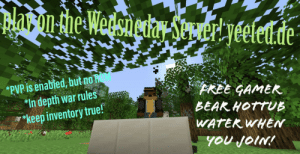 "True, Free, and Water: ar on the Wersnechay SteAertyéeleu.de  *PVP is enabled, but no OM  ""In depth war rules  *keep inventory true!  FREE GAMER  BEAK HOTTUE  WATER WHEN  YOU JOIN! me irl"