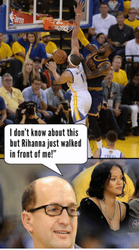 """1 year ago today, LeBron posterized JaVale McGee while Jeff Van Gundy was busy trying to check out Rihanna.   VIDEO: https://t.co/JQHx0rHADm https://t.co/SXIyYNRv27: ar  SPALDING  l don't know about this  but Rihanna just walked  in front of me!"""" 1 year ago today, LeBron posterized JaVale McGee while Jeff Van Gundy was busy trying to check out Rihanna.   VIDEO: https://t.co/JQHx0rHADm https://t.co/SXIyYNRv27"""