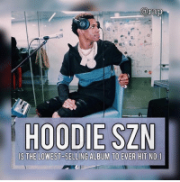 """Bailey Jay, Billboard, and I Dont Give a Fuck: arap  HOODIE SZN  IS THE LOWEST SELLING ALBUM TO EVER HIT NO1 A Boogie's 'Hoodie SZN' is the lowest-selling album to ever land No. 1 on the Billboard 200 albums chart. - The album has been making noise on every streaming platform but according to reports, Hoodie SZN sold less than 900 pure copies but still managed to take the No. 1 spot. - A boogie had this to say about it,  """"It sound like they trying to discredit me. I'ma keep it a buck. But at the same time it's like, I don't give a fuck because I just went brazy."""" - RapTVSTAFF: @thatkidcm 📸 @chief10kvisuals"""