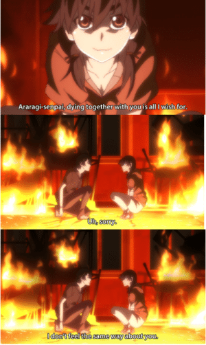 Anime, Senpai, and Irl: Araragi-senpai, dying together with youis all I wish for  Udon't feel the same way about you. anime_irl