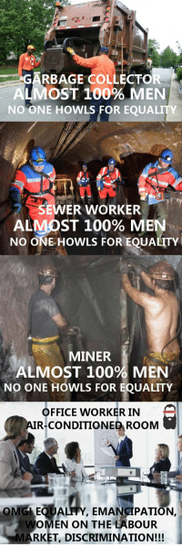 Unequaled Equality.: ARBAGE COLLECT O  MOST 100% MEN  NO ONE HOWLS FOR EQUALITY  SEWER WORKER.  ALMOST 100% MEN  NO ONE HOWLS FOR EQUALITY  MINER  ALMOST 100% MEN  NO ONE HOWLS FOR EQUALITY  OFFICE WORKER IN  AIR CONDITIONED RooM  OMG EQUALITY, EMANCIPATION,  WOMEN ON THE LABOUR  MARKET, DISCRIMINATION!!! Unequaled Equality.