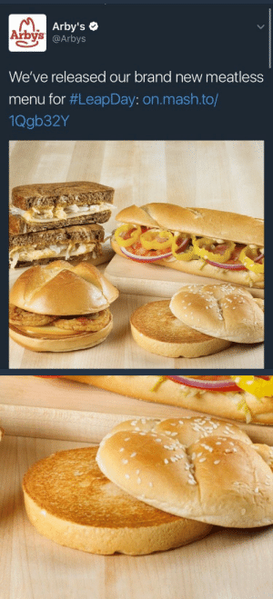 "Fucking, Target, and Tumblr: Arby's  @Arbys  Arbys  We've released our brand new meatless  menu for #LeapDay: on.mash.to/  1Qgb32Y lain2501: weavemama: ah yes,, i can't will I try out arby's new innovative meatless sandwich: literally 2 slices of fucking bread  it's ""Arby's: we have the MEATS"", cowards"