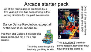 Arcade Starter Pavk: Arcade starter pack  All of the racing games are taken by a  PlayStation.2  five year old who has been driving  in the  wrong direction for the past five minutes  Dance Dance Revolution, except all  of the text is in Japanese  5000  Pac Man and Galaga if it's part of a  pizza parlor, but not if it's a real  so00  TEEN  naMCO  15  100  arcade.  This is ALWAYS there for  some reason, nomatter how  This thing even though it's  basically gambling for kids  new or big the place is.  Only 2 of the games have  been added since 2004 Arcade Starter Pavk