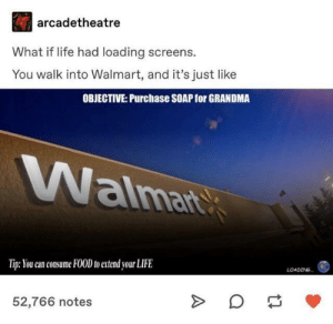 Imagine by MindedSpy MORE MEMES: arcadetheatre  What if life had loading screens.  You walk into Walmart, and it's just like  OBJECTIVE: Purchase SOAP for GRANDMA  aima  Tip: You can consume FOOD to extend your LIFE  LOADING  52,766 notes Imagine by MindedSpy MORE MEMES