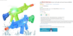 """been wanting to show this for a very very long time...: arch results for """"nert guns  deAO Electric Water Gun 'Universe' with Light and Sound Features (GREEN)  by deAO  7 answered questions  14 customer reviews  Price: £7.99 FREE delivery  In stock.  Get it as soon as 23 - 24 Oct. when you choose Express Delivery at checkout. Details  Dispatched from and sold by deAO.  1 new from £7.99  Colour Name: Green  E7.99  £7.99  Electric Water Gun 'Universe Fully motorized water gun - no pumping required!  Electric function Latest design. 7m Shooting Range. Large water storage.  Recommended age group: 6+ adult supervision recommended for young children  Need Batteries """"AA"""" (not supplied)  PLEASE ensure you always remove the water tank with the nozzle of the gun tilted towards the sky and the tan  the ground. Opening the tank with the gun parallel to the ground or even the nozzle tilted to the ground willc  8  water to flow passed the seal and into the main parts of the gun affecting the electrics and the batteries.  See more product details  Report incorrect product information.  Warning: Only for domestic use. To be used under the direct supervision of an adult.  Discover  Shop now  unique products been wanting to show this for a very very long time..."""