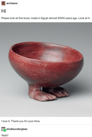 Love, Tumblr, and Yeah: archaeos  Hi  Please look at this bowl, made in Egypt almost 6000 years ago. Look at it.  I love it. Thank you for your time.  elodieunderglass  Yeah!! Fowl (Feet Bowl)