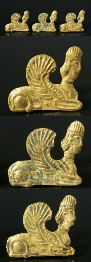 Head, Tumblr, and Blog: archaicwonder:  Achaemenid Gold Sphinx Ornaments, 5th Century BC Three well-modeled high-karat gold ornaments, each in the form of a  kneeling Sphinx. Human head, lion body and wings outstretched over the  back, each with two small suspension loops on reverse.