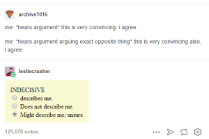 """Omg, Tumblr, and Home: archive1016  me: """"hears argument* this is very convincing, i agree  me: """"hears argument arguing exact opposite thing* this is very convincing also,  Iagree  lesliecrusher  INDECISIVE  describes me.  Does not describe me.  Might describe  me: unsure  121,070 notes Two roads diverged in a wood, and I— I turned and went back home.omg-humor.tumblr.com"""