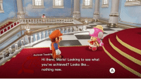 Mario, Relatable, and Looking: Archivist Toadette  Hi there, Mario! Looking to see what  you've achieved? Looks like...  nothing new Sadly Relatable https://t.co/4XlSBaB6qO