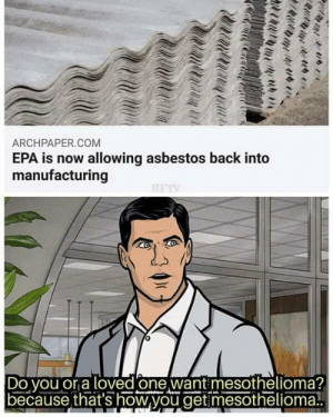 Make America a underdeveloped backwater again! by gryant MORE MEMES: ARCHPAPER.COM  EPA is now allowing asbestos back into  manufacturing  Do vou or a loved one want mesothelioma?  because that's how,you get mesothelioma! Make America a underdeveloped backwater again! by gryant MORE MEMES