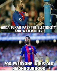 Memes, Qatar, and 🤖: ARDA TURAN PAYS THE ELECTRICITY  AND WATER BILLS  QATAR  getty images  NurPhoto  FOR EVERYONE IN HIS OLD  NEIGHBOURHOOD  6148 8122 Respect!🔥🙌 Follow @memesofootball