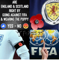 Thoughts ?: ARE  ENGLAND & SCOTLAND  RIGHT BY  GOING AGAINST FIFA  & WEARING THE POPPY  YES NO  FR  OA AND Thoughts ?