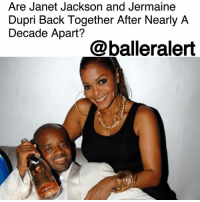 """Are Janet Jackson and Jermaine Dupri Back Together After Nearly A Decade Apart?– blogged by @MsJennyb ⠀⠀⠀⠀⠀⠀⠀ ⠀⠀⠀⠀⠀⠀⠀ As JanetJackson wrapped the U.S. leg of her """"State of the World"""" tour, the legendary singer kicked it with a familiar face at a private party at STK Atlanta. ⠀⠀⠀⠀⠀⠀⠀ ⠀⠀⠀⠀⠀⠀⠀ According to the NYPost, Jackson was seen with her ex, JermaineDupri, whom she dated for nearly a decade before breaking it off in 2009. ⠀⠀⠀⠀⠀⠀⠀ ⠀⠀⠀⠀⠀⠀⠀ A source told the publication that the two, """"arrived together right after the show. He was dressed in a long hooded cloak. It seemed like he was trying to fly under the radar."""" ⠀⠀⠀⠀⠀⠀⠀ ⠀⠀⠀⠀⠀⠀⠀ According to US Weekly, the two are picking up right where they left off eight years ago, in the wake of Jackson's split from her husband, Wissam Al Mana. A source told the publication that the former couple has rekindled their old flame, and """"are 100 percent back together and in love."""" However, the source said they are taking it slow, as they are just kicking it and """"getting to know each other all over again."""" ⠀⠀⠀⠀⠀⠀⠀ ⠀⠀⠀⠀⠀⠀⠀ Are we here for a Janet and Jermaine reunion?: Are Janet Jackson and Jermaine  Dupri Back Together After Nearly A  Decade Apart?  @balleralert Are Janet Jackson and Jermaine Dupri Back Together After Nearly A Decade Apart?– blogged by @MsJennyb ⠀⠀⠀⠀⠀⠀⠀ ⠀⠀⠀⠀⠀⠀⠀ As JanetJackson wrapped the U.S. leg of her """"State of the World"""" tour, the legendary singer kicked it with a familiar face at a private party at STK Atlanta. ⠀⠀⠀⠀⠀⠀⠀ ⠀⠀⠀⠀⠀⠀⠀ According to the NYPost, Jackson was seen with her ex, JermaineDupri, whom she dated for nearly a decade before breaking it off in 2009. ⠀⠀⠀⠀⠀⠀⠀ ⠀⠀⠀⠀⠀⠀⠀ A source told the publication that the two, """"arrived together right after the show. He was dressed in a long hooded cloak. It seemed like he was trying to fly under the radar."""" ⠀⠀⠀⠀⠀⠀⠀ ⠀⠀⠀⠀⠀⠀⠀ According to US Weekly, the two are picking up right where they left off eight years ago, in the wake of Jackson's split from her husband, Wissam Al M"""
