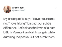 "me_irl: are oh bee  @areohbee8  My tinder profile says "" love mountains""  not ""I love hiking."" Distinct but subtle  difference. Let's sit on the lawn of a cute  b&b in Vermont and drink sangria while  admiring the peaks. But not climb them. me_irl"
