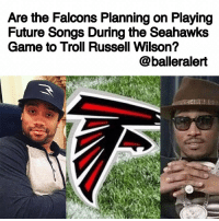 """Are the Falcons Planning on Playing Future Songs During the Seahawks Game to Troll Russell Wilson? - blogged by @LoveRubyWoo ⠀⠀⠀⠀⠀⠀⠀⠀⠀ ⠀⠀⠀⠀⠀⠀⠀⠀⠀ Ahead of the big divisional round game between the Falcons and Seahawks on Saturday, the Falcons have to come up with ways to stop RussellWilson in order for them to secure a trip to the NFC Championship. Many Falcons fans threw in their two cents via Twitter on how Wilson could be stopped (or at the very least distracted), by suggesting that the DJ at the Georgia Dome should play Future songs to mess with the rapper's ex's current husband. Some fans even went so far as to start an online petition calling for Future to sing the national anthem at the game. The petition, which was created on Sunday, has close to one thousand signatures. ⠀⠀⠀⠀⠀⠀⠀⠀⠀ ⠀⠀⠀⠀⠀⠀⠀⠀⠀ When asked whether or not the Dome would have Future songs in heavy rotation on Saturday, Falcons head coach Dan Quinn said, """"We will absolutely not go down that road,'' according to ESPN. ⠀⠀⠀⠀⠀⠀⠀⠀⠀ ⠀⠀⠀⠀⠀⠀⠀⠀⠀ However, the Falcons official DJ, who says he's been a Falcons fan since birth, seems to already have his mind made up. According to his Instagram page, he already has a playlist ready for Russell, featuring hits like """"Same Damn Time"""", """"Tony Montana,"""" and """"Racks"""". ⠀⠀⠀⠀⠀⠀⠀⠀⠀ ⠀⠀⠀⠀⠀⠀⠀⠀⠀ We'll see who gets the final say on the musical selection this weekend, but either way, it's bound to be a good game. Will you be tuned in?: Are the Falcons Planning on Playing  Future Songs During the Seahawks  Game to Troll Russell Wilson?  @balleralert Are the Falcons Planning on Playing Future Songs During the Seahawks Game to Troll Russell Wilson? - blogged by @LoveRubyWoo ⠀⠀⠀⠀⠀⠀⠀⠀⠀ ⠀⠀⠀⠀⠀⠀⠀⠀⠀ Ahead of the big divisional round game between the Falcons and Seahawks on Saturday, the Falcons have to come up with ways to stop RussellWilson in order for them to secure a trip to the NFC Championship. Many Falcons fans threw in their two cents via Twitter on how Wilson could be stopped (or a"""