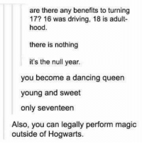 Dancing, Driving, and Memes: are there any benefits to turning  17? 16 was driving, 18 is adult-  hood.  there is nothing  it's the null year.  you become a dancing queen  young and sweet  only seventeen  Also, you can legally perform magic  outside of Hogwarts.