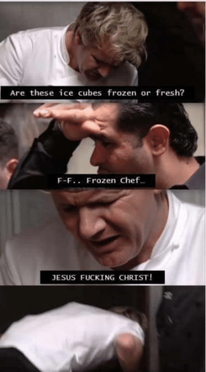 Fresh, Frozen, and Fucking: Are these ice cubes frozen or fresh?  F-F.. Frozen chef.  JESUS FUCKING CHRIST! Just Gordon Ramsey'
