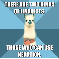 "Meme, Blue, and Text: ARE TWO KINDS  OFLINGUISTS  THERE  THOSE WHO CAN US  NEGATION <p>[Picture: Background: 8-piece pie-style color split with alternating shades of blue. Foreground: Linguist Llama meme, a white llama facing forward, wearing a red scarf. Top text: "" There are two kinds of linguists:"" Bottom text: ""Those who can use negation.""]</p>"