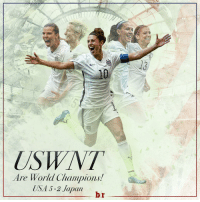 Carli Lloyd is the first person ever with a hat trick in a WomensWorldCup final. Legend: Are World Champions!  USA 5-2 Japan  br Carli Lloyd is the first person ever with a hat trick in a WomensWorldCup final. Legend