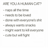 Cute, Funny, and Shit: ARE YOU A HUMAN CAT?  naps all the time  needs to be loved  done with everyone's shit  always wants snacks  might want to kill everyone  cute but will fight caturdays with @drinksforgayz are everything 😻😹😹