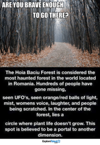 Memes, Brave, and Braves: ARE YOU BRAVE ENOUGH  TO GO THERE?  The Hoia Baciu Forest is considered the  most haunted forest in the world located  in Romania. Hundreds of people have  gone missing,  seen UFO's, seen orange/red balls of light,  mist, womens voice, laughter, and people  being scratched. In the center of the  forest, lies a  circle where plant life doesn't grow. This  spot is believed to be a portal to another  dimension.  Talent  Explore Would you go? 👻💀