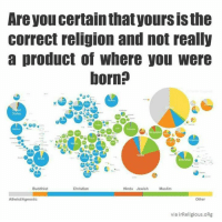 - The Goat: Are you certainthatyoursisthe  Correct religion and not really  a product of Where you Were  born?  States  Hindu Jewish  Buddhist  Christian  Muslim  Atheist/Agnostic  Other  via irReligious. ORg - The Goat