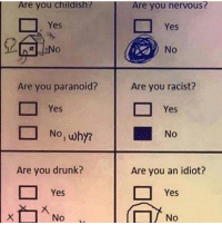 nervous: Are you childish? Are you nervous  Yes  No  Are you racist?  Are you paranoid?  Yes  Yes  D No,why?  No  Are you drunk?  Are you an idiot?  Yes  Yes  x No  No