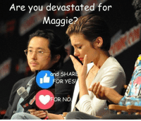 #TheWalkingDead fans, please give this post for Lauren Cohan and Steven Yeun a VOTE today. :) (y)  www.egvoproductions.com: Are you devastated for  Maggie?  nd SHAR  FOR YES!  FOR NO #TheWalkingDead fans, please give this post for Lauren Cohan and Steven Yeun a VOTE today. :) (y)  www.egvoproductions.com