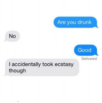 Drunk, Good, and Girl Memes: Are you drunk  No  Good  Delivered  I accidentally took ecstasy We've all done it 🤗 ( @no.fucksgiiven )