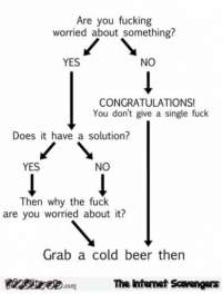 Beer, Fucking, and Funny: Are you fucking  worried about something?  YES  NO  CONGRATULATIONS!  You don't give a single fuck  Does it have a solution?  YES  NO  Then why the fuck  are you worried about it?  Grab a cold beer thern  PinsiyecomThe intemet Scavengers <p>Funny daily nonsense  Tuesday meme collection  PMSLweb </p>